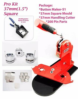 (Kit 37*37mm Square) New Button Maker - S1+Mould+200 PinParts+HandlingCutter