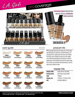 [9 FULL SET] L.A. LA Girl PRO Coverage Illuminating Foundation DISPLAY, TESTERS