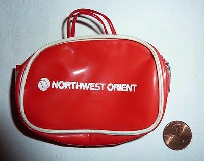 Vintage Advertising Northwest Orient Airline Luggage Bag Shaped Vinyl Coin Purse
