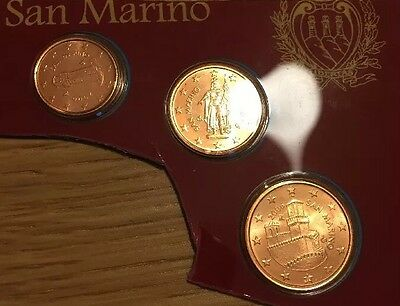 San Marino 3 Coins FDC 2006 New Bunc From Set 1cent To 5cent