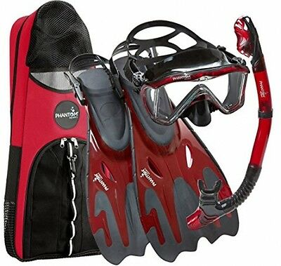 Phantom Aquatics Legendary Deluxe Mask Fin Snorkel Set Snorkeling Gear S/M Bag