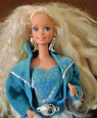 "1993 WESTERN BARBIE 12"" Doll ~ Fringed Outfit & Boot Earrings ~ Mattel ~ @LOOK@"