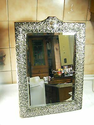 Edwardian large dressing table mirror Rococo design sterling silver 1902