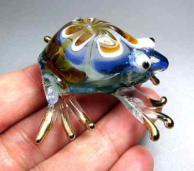 Blue Amber FROG hand made blown ART GLASS figurine animal CUTE collection  GIFT