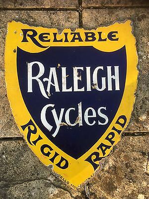 Raleigh Cycles Enamel Sign Shield Shape c1900