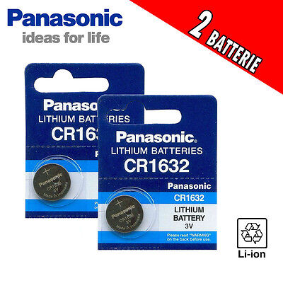 2 BATTERIE PANASONIC A BOTTONE CR1632 3 VOLT al LITIO Lithium 3V