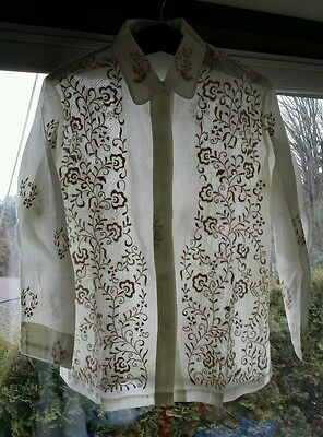 NOS Vintage Women's Barong Blouse Philippine Cultural sz 16 Embroidered Filipino