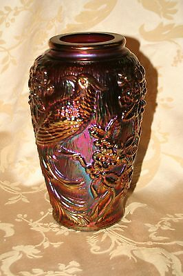 "Vintage Fenton ""Tropical Birds"" Iridescent Amethyst Purple Carnival Glass Vase"
