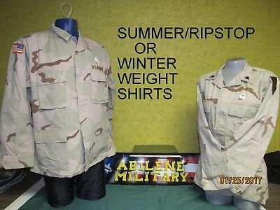 Us Army Dcu Desert Bdu Combat Uniform Shirt Ripstop Hot Weather Used With Patch