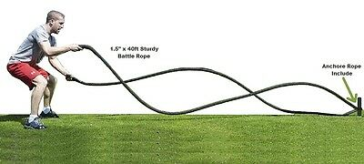 """40 FT POLY DACRON 1.5 """" Battle Rope black Fitness Rope Exercise Strength Workout"""