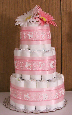 3 Tier Diaper Cake GIRL BABY JOY TICKLED PINK MOD Pink  Baby Shower Centerpiece