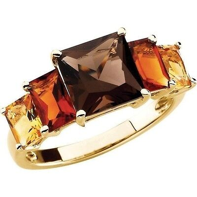 Genuine Madeira Citrine, Citrine, Smoky Quartz Gems 5 Stone Ring 14K Yellow Gold