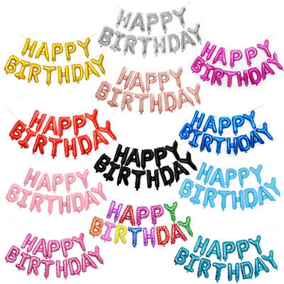 Self Inflating Happy Birthday Banner Balloon Bunting Gold / Silver Letters Foil