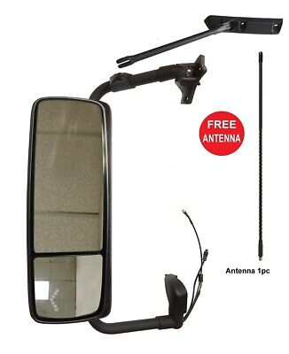 Volvo VNL Door Mirror Power Heated Gloss Black Cover with Turn Signal & Arm LH