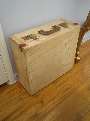 Vintage Wood Carrying Tool Box Case With 2 Locks And 2 Keys