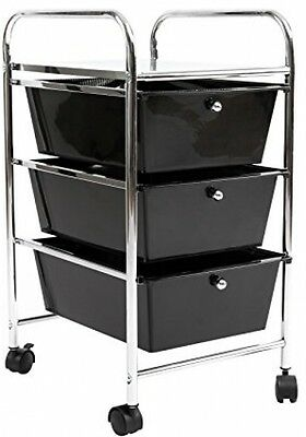 3-Drawer Black Plastic Portable Mobile Organizer, Utility Rolling Storage Cart