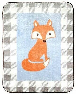 Luvable Friends Character High Pile Blanket, Blue Fox, 30 X 40