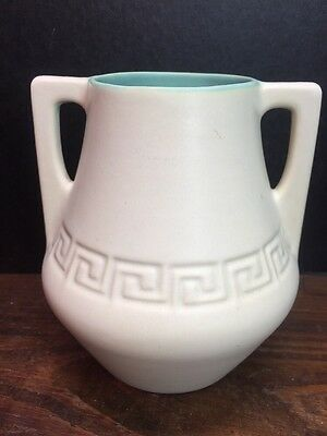 Coors Pottery Double Handled Vase Matte White And Turquoise Greek Key - Mint