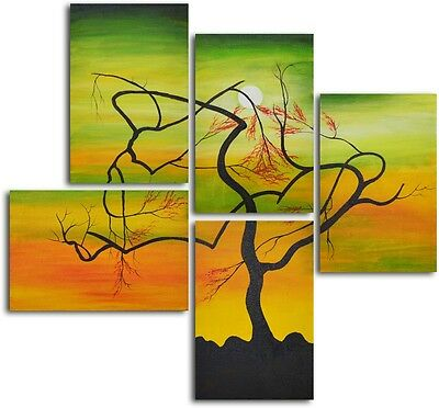 Serpentie Tree Panels 5-Piece Hand Painted Oil Painting 56W*54H with actual pics