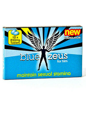Ann Summers Blue Zeus Tabs Male Sexual Stamina Enhancer Supplement 10 Pack 850mg