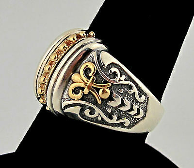 AE Sterling Silver 925 Gold 14K Fleur De Lis Lily Beads Wide Dome Vtg Ring 10.25