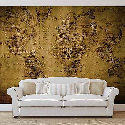 Sepia World Map WALL MURAL PHOTO WALLPAPER (3600DK)