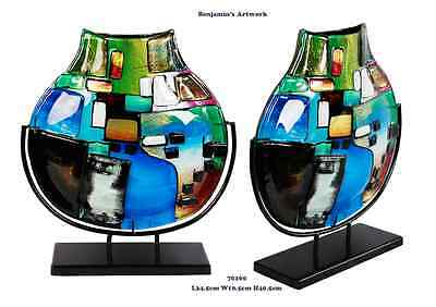 New Hand Made Fused Glass Vase Hand Painted Mosaic Style Blue Black Green