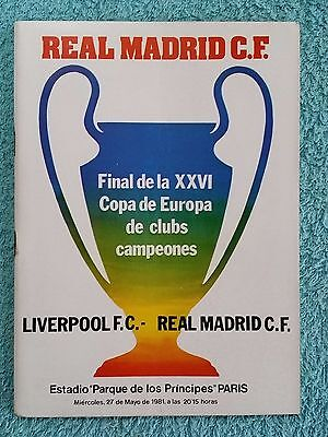 1981 - EUROPEAN CUP FINAL PROGRAMME - LIVERPOOL v REAL MADRID - SCARCE