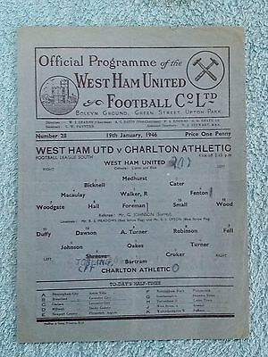 1946 - WEST HAM UTD v CHARLTON ATHLETIC PROGRAMME - FOOTBALL LEAGUE SOUTH