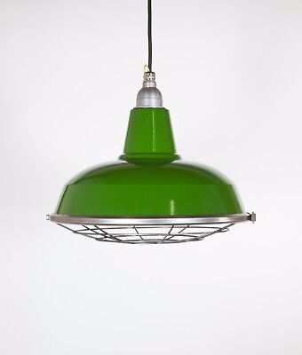 BURLEY WITH CAGE - Factory Enamel Ceiling Pendant Light - Vintage Industrial
