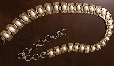 Vintage Antique Early 60's Carved Gold & Pearl Tone Chain Panel Belt Adjustable