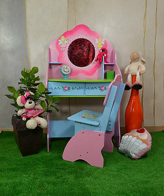 Children Dressing Table With Stool Kids Princess Girls Bedroom Fairy Flowers