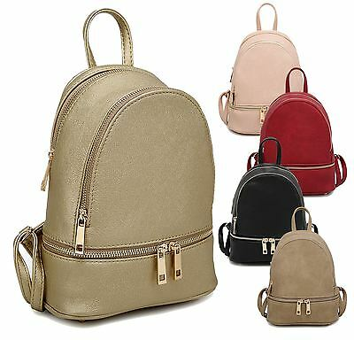 Womens Chic Faux Leather Backpack Soft Lining Zip Detail Casual Ladies Large Bag