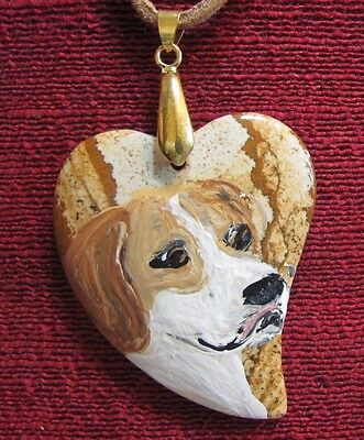 Pointer hand painted on heartshaped Picture Jasper pendant/bead/necklace