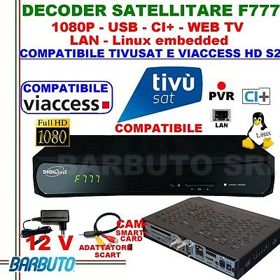 Decoder Sat Hd S2 Digiquest F777 Linux,compatibile Tivusat E  Tv Svizzera,web Tv