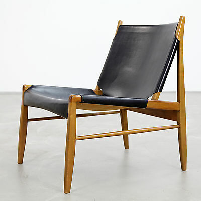 Franz Xaver Lutz - Oak and Leather 'Chimney' Chair for WK Verband, 1958 | 1950s