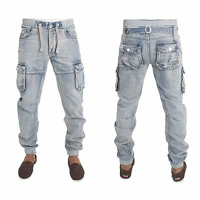 Boys Kids Jeans Eb487 In Acid Wash Colour Cuffed Cargo Style All Sizes 24 To 29