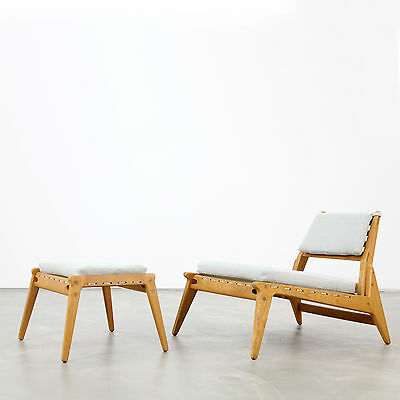 "Mid-Century Modern ""Hunting Group"" - Lounge Chair and Ottoman 