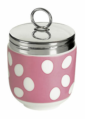 Bia Egg Coddler Poacher Cooker Porcelain & Stainless Steel Pink White Gift Boxed