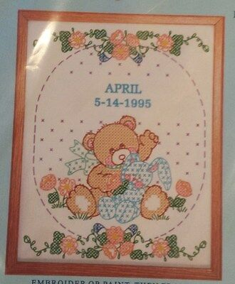 "JACK DEMPSEY NEEDLE ART Baby Embroidery Sampler ""Bear and Bunny"" Pattern 2003"