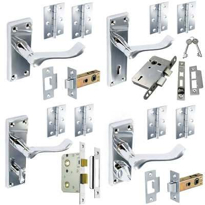 DOOR HANDLE SET POLISHED CHROME Pack Mortice Latch Lock Bathroom Privacy Scroll