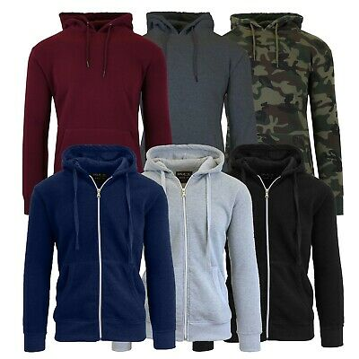 Mens Fleece Hoodie Jacket Sweater For Layering Warm Lounge Full Zip Up - S-XXL