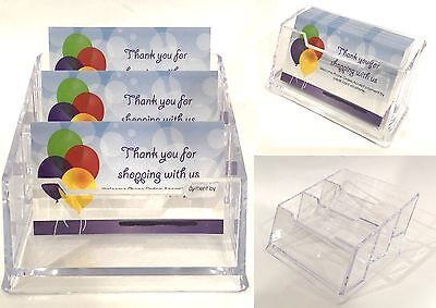 4x Acrylic Pocket Business ID Card Holder Desk Stand Display Office Shelf