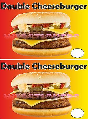 2  Double Cheesburger stickers for cafe  catering trailer hot dog van Burger Van