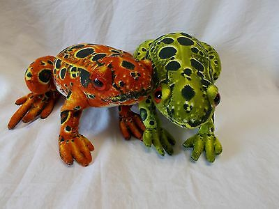 """Two Plush Spotted Frogs - Green & Orange - 8"""" Long - Good Condition"""