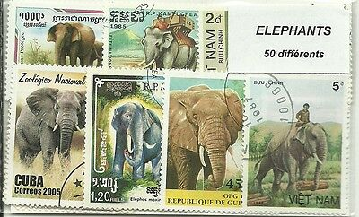 "Lot de 50 timbres thematique "" Elephants"""