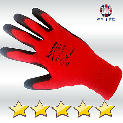24 Pairs 100% NITRILE COATED Red Black Nylon Work Gloves Builders Gardening Grip