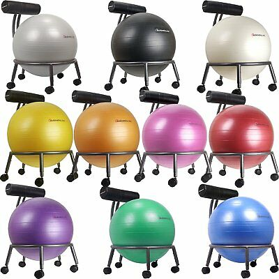 Isokinetics Inc Adjustable Exercise Ball Chair w/ 55cm Ball & Pump-Silver Frame
