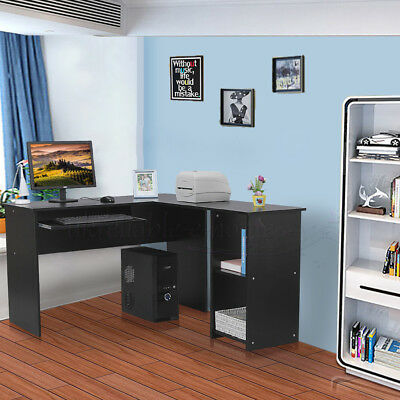 L-Shaped Corner Computer Desk Bookshelf Table Workstation Home Office Furniture