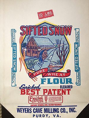 Vintage Sifted Snow 10lbs. NOS Flour Bag~ Weyers Cave Milling Co. Purdy, Va.